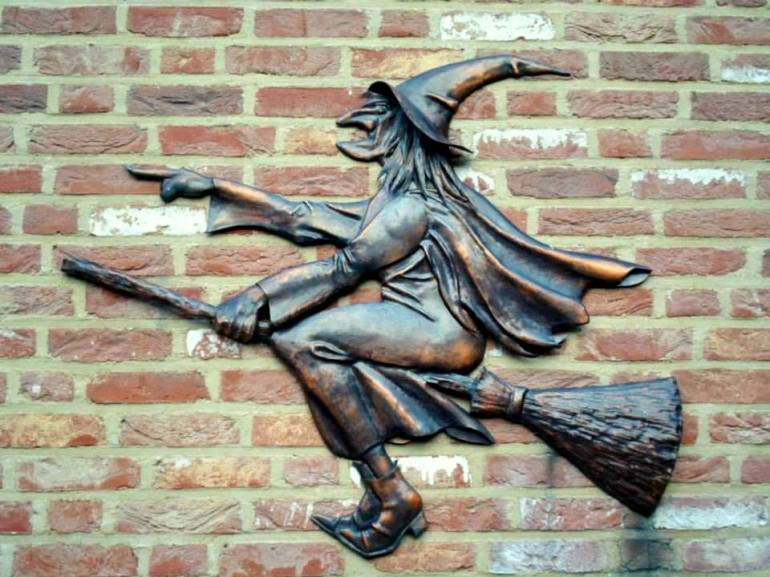 heks, beeld, sculptuur, gevel, muur, wand