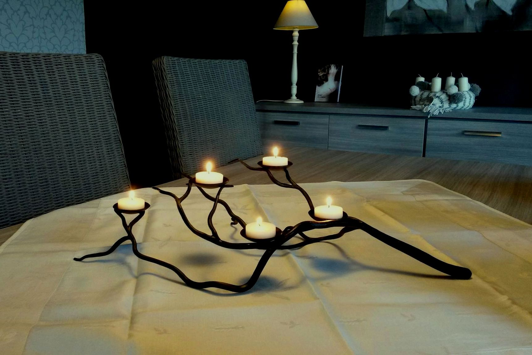 Smeedijzer, tak, decoratie, sfeerverlichting, design