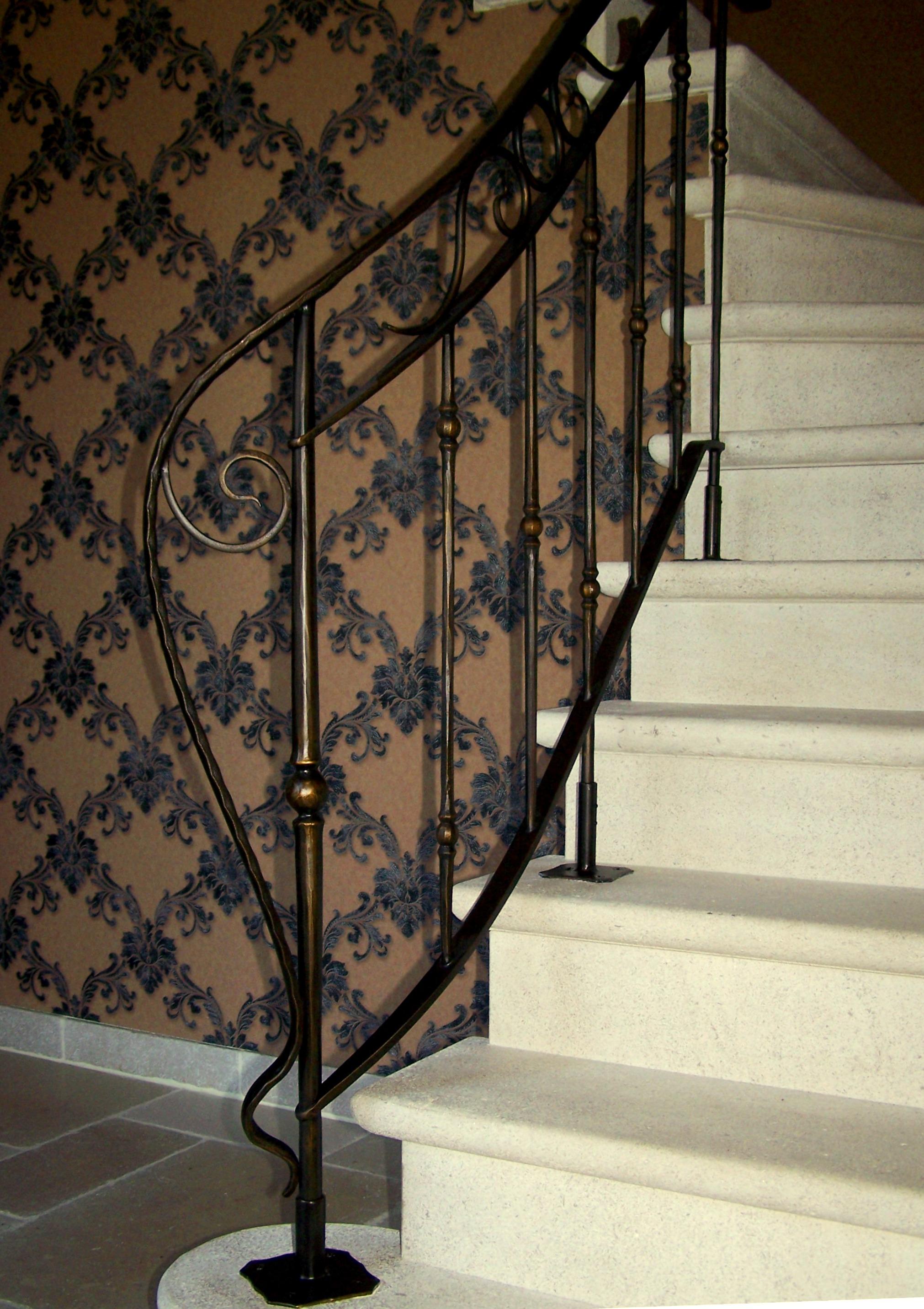 Smeedijzer, trapleuning, rampe d'escalier, kunstsmeedwerk